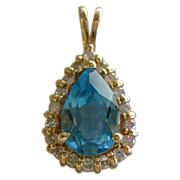 SALE Beautiful Vintage Blue Topaz & Diamond Pendant-14Kt