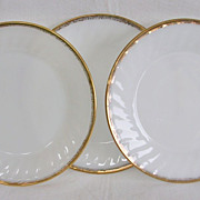 Vintage Fire King Milk Glass 22K Gold Salad Plates