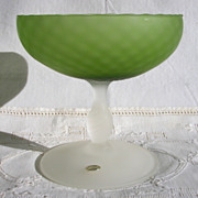 Decorative Italian Green and White Satin Glass Compote