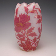 REDUCED Art Nouveau  French St Louis Pink Cameo Opaline Gilt Glass Vase c1900