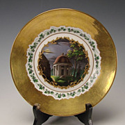 SALE Antique KPM German Porcelain Hand Painted and Gilt Plate c1845