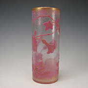 SALE Great Art Nouveau Baccarat Pink and Gilt Cameo Glass Vase Signed Dated c1898