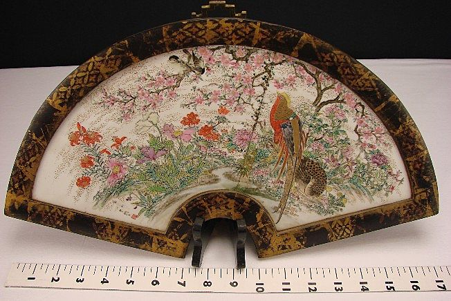 Antique Japanese Meiji Enamel Porcelain Hanging Fan Wall Plaque Plate 17&quot; Signed 18c/19c