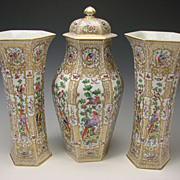 SALE Antique French Samson Porcelain Garniture Vase & Urn SET c1875