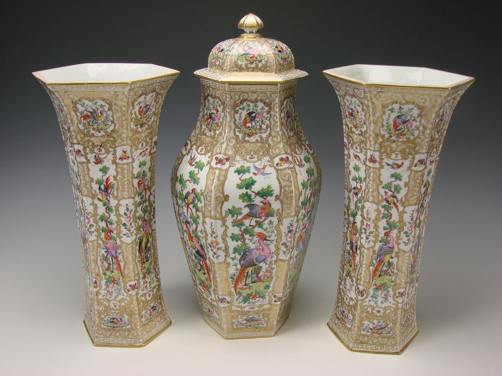 Antique French Samson Porcelain Garniture Vase & Urn SET c1875