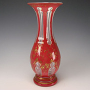 Bohemian Hot Pink Red Enamel Overlay Glass Vase