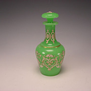 SALE Antique French or Bohemian Green Opaline Glass Perfume Scent Bottle