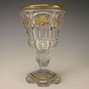 Antique 19c Russian Bohemian Crystal Cut Wine Elegant Gilt Wine Glass Stem