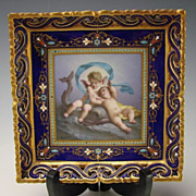 Antique Sevres Limoges French Cherub Hand Painted Jeweled Porcelain Plate Tray