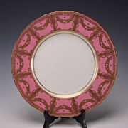 Art Nouveau Royal Worcester Porcelain China Rose Gilt Cabinet Dinner Plate s1186