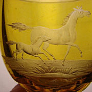Bohemian Engraved Wine Glass Arabian Horses Cut Amber to Clear Antique c1840