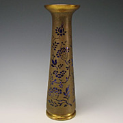 Antique Val St Lambert Cobalt Gilt Glass Cameo Vase Signed Brass Overlay