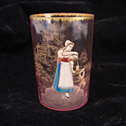 REDUCED Antique Cranberry Rossler Bohemian Enamel Gilt Cameo Glass Tumbler Vase Cup