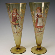 Antique Bohemian Egermann Enameled Amber Glass Beer Stem Tumblers