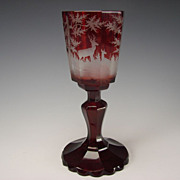 Antique Bohemian Ruby Cut and Stained Goblet Wine Glass Engraved Stag Deer Scene