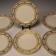 Antique Minton English China Porcelain 6 Elegant Dessert Lunch Plates c1900