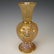 Antique Moser Peach Opalescent Glass Vase with Enamel Cherub Decorations