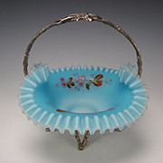 Antique Victorian Satin Glass Silver Figural Brides Basket Bowl