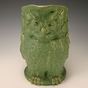 BIG Rookwood c1907 Arts Crafts Matte Green Owl Pottery Figural Pitcher Jug