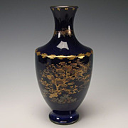 Antique Meiji Japanese Satsuma Cobalt Blue Pottery Vase Signed Kinkozan