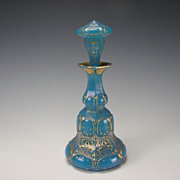 SALE Antique French Baccarat Gilt Blue Opaline Perfume Scent Bottle