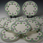 SALE c1890 English Minton Enameled Porcelain Dinner Plate Set of 10