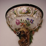 REDUCED Antique German Porcelain Foo Dog Bracket Shelf BIG c1810