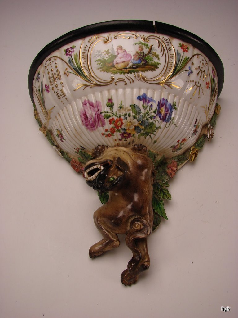 Antique German Porcelain Foo Dog Bracket Shelf BIG c1810