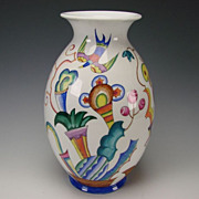 Augarten Wien Franz Von Zulow Art Deco Hand Painted Porcelain Vase
