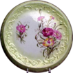 Round Floral Germany Tea Tile Decorated w/ Burgundy Carnations