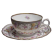 Fine Hand Painted Floral Embossed Lace Design Bavarian Schumann Cup & Saucer