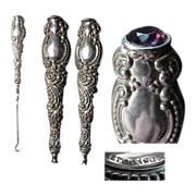 Sterling Antique Buttonhook with Jeweled Top