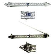 14K Filigree White Gold Bar Pin with Sapphire