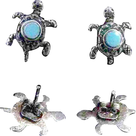 Tiny Sterling & Turquoise Turtles Earrings