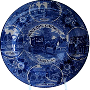 Rockome Gardens Arcola, Illinois Blue & White Plate