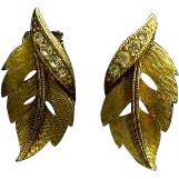 Brushed Gold Leaves with Rhinestones Earrings