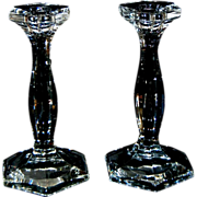 "Pair of Antique Heisey Crystal Glass 7 1/2"" Candlesticks"
