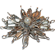 Sterling & Rhinestone Starburst Pin