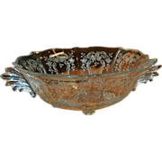 Meadow Rose Crystal Etching by Fostoria 10 5/8&quot; Baroque 4 toed Bowl