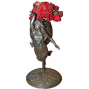 Circa 1880's Silverplated Victorian Figural Lady with Vase
