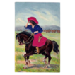 Gorgeous and Rare Cowgirl w / velvet overlay Postcard