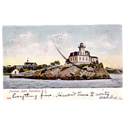 "1906 Lighthouse Postcard ""Pomham Light Providence R.I. """