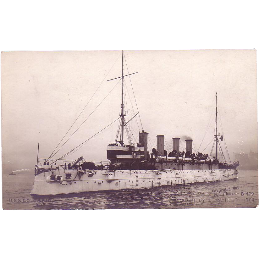 "RPPC Postcard with Photographic Image of ""USS Columbia"""
