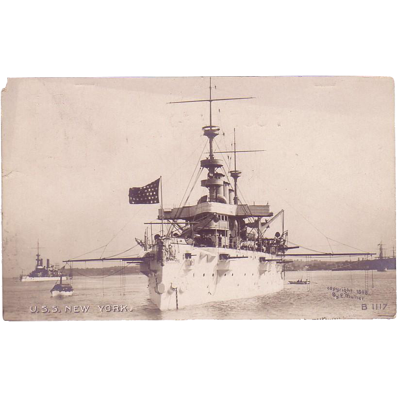 "RPPC Postcard with Photographic Image of ""USS New York"""