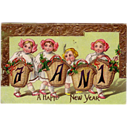 "New Years Postcard  from Jan 1, 1911 wishing "" A Happy New Year """