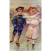 "Religious Card "" Boy & Girl Ice Skaters"""