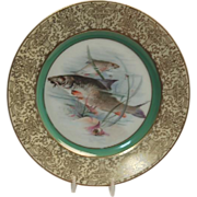 "1900's Hand Painted Bavarian P T Tirschenreth Fish Plate ""Sturgeon"""