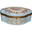"Large Beautiful Powder Blue Marked ""Limoges Hand Painted"" Floral Dresser Box"