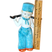 "5 3/4"" Tall Bisque Japanese Dutch Boy Figurine in Blue"