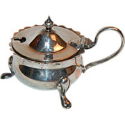 Sweet Tiny Electro Plated Footed Mustard Pot w/ Handle